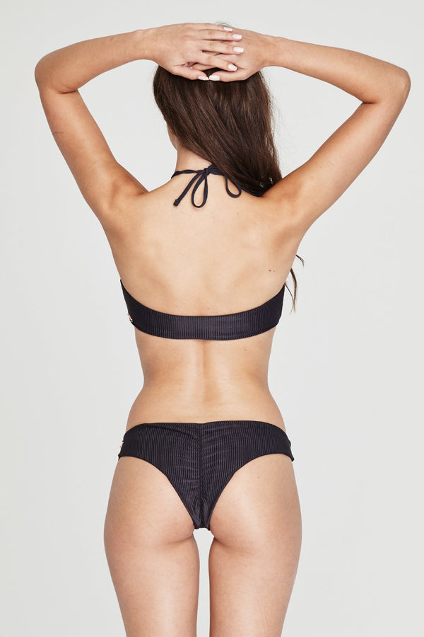 BEACH BUM RIBBED BIKINI BOTTOM VINTAGE BLACK - Spiritual Gangster