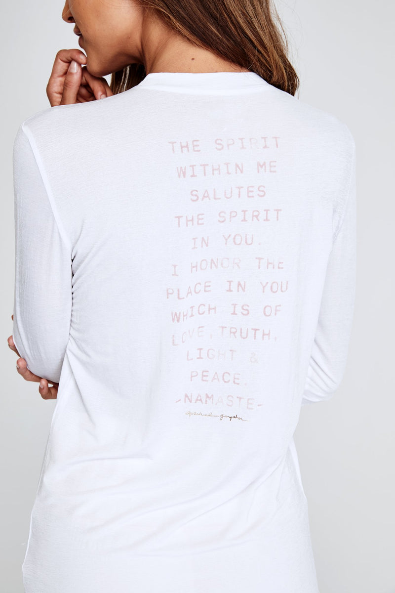 Namaste Spirit Active Long Sleeve Tee White