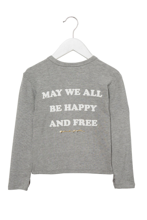 HAPPY AND FREE KIDS THERMAL HEATHER GREY - Spiritual Gangster