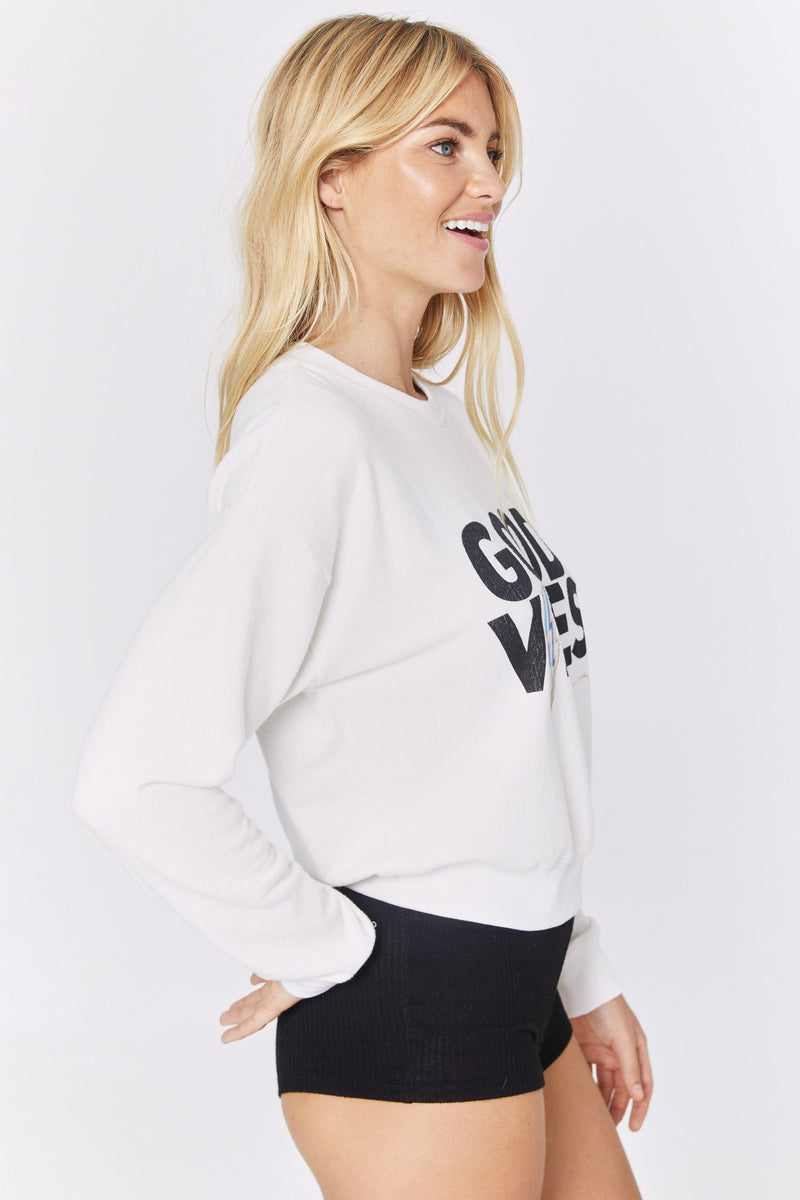 GOOD VIBES CROP MALIBU CREW NECK