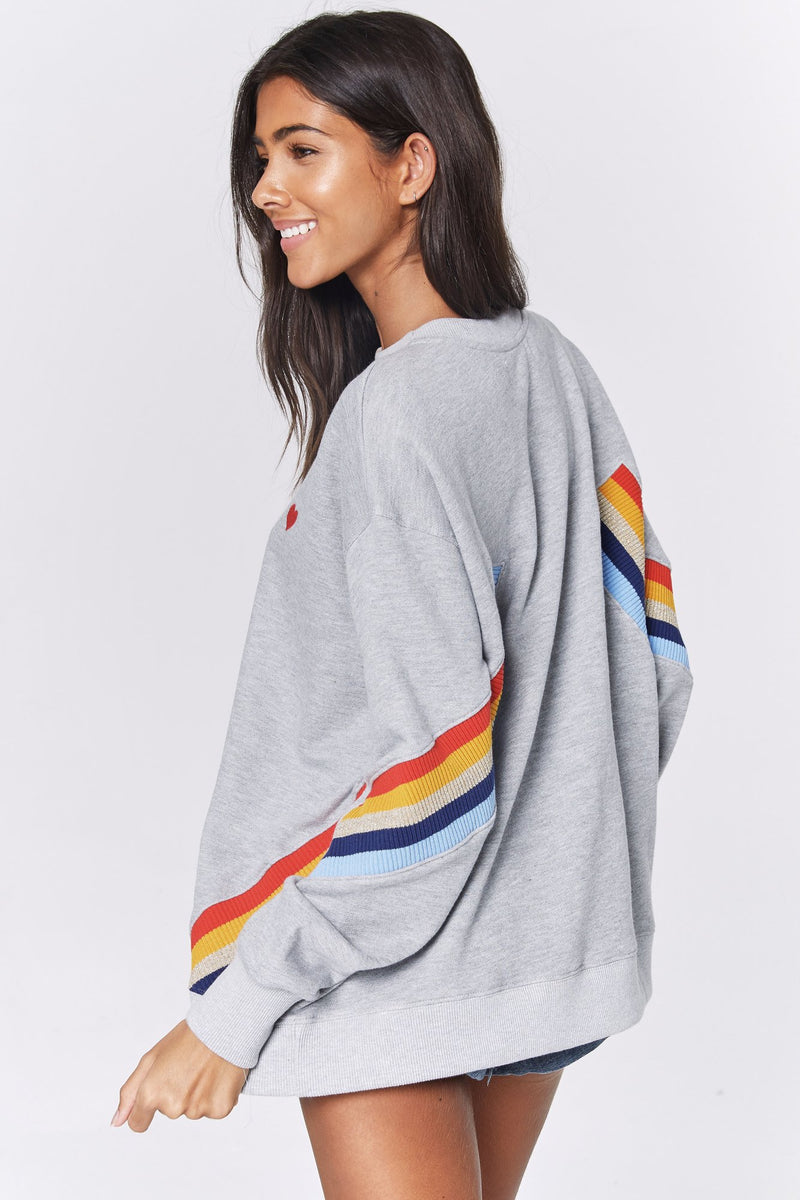HEART STRIPE SWEATSHIRT