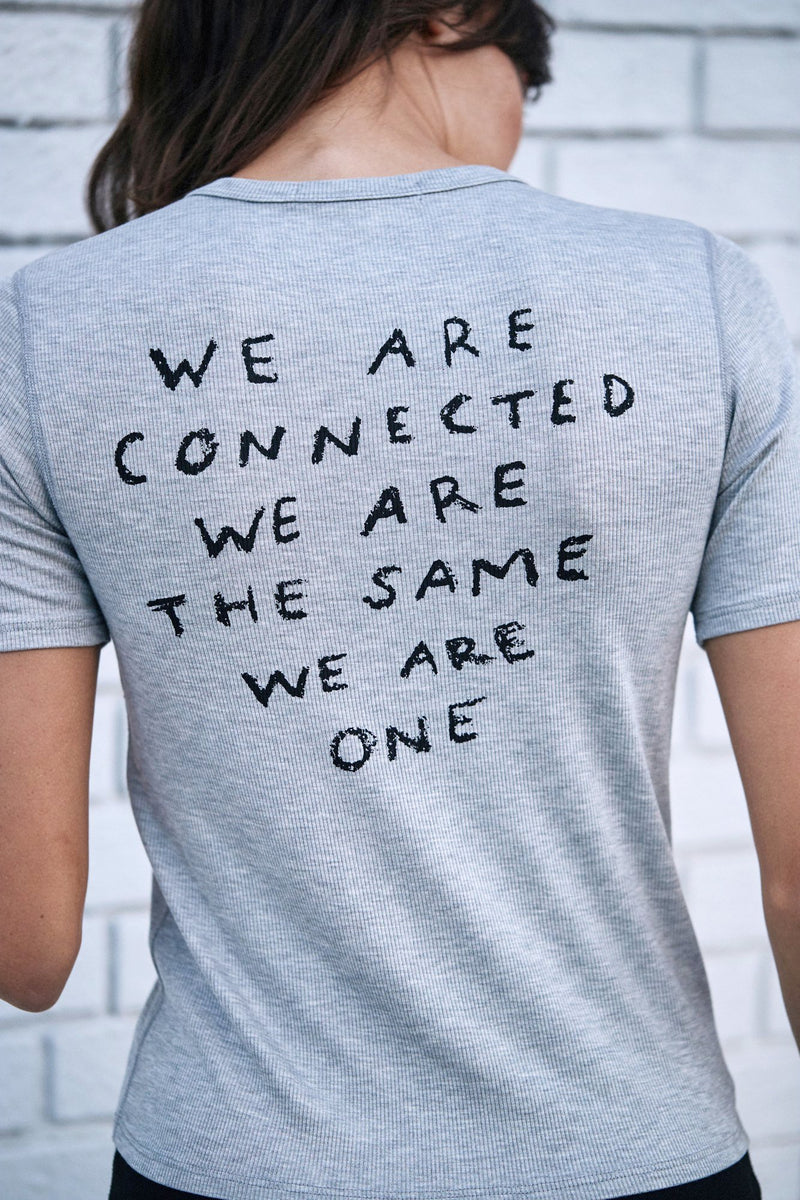 WE ARE CONNECTED LOTUS RIB TEE