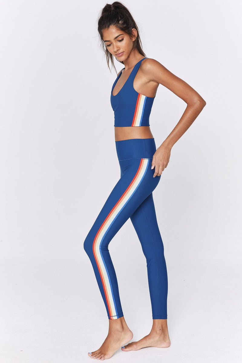 RAINBOW STRIPE COMPRESSIVE HIGH WAIST 7/8 LEGGING