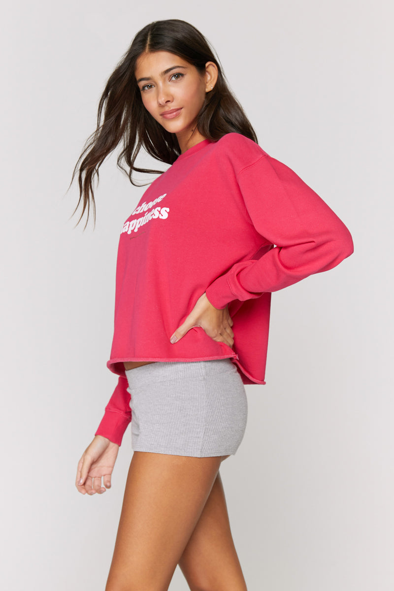 Choose Happiness Mazzy Crop Sweatshirt