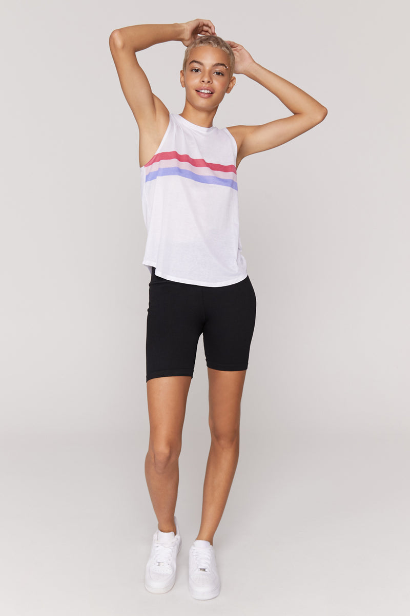 Stripe Active Muscle Tank