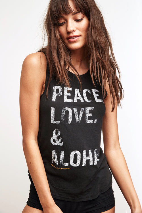Peace Love Aloha Stacked Muscle Tank - Spiritual Gangster