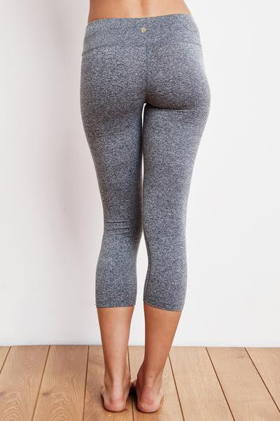 SG SCRIPT CROP LEGGING HEATHER GREY - Spiritual Gangster
