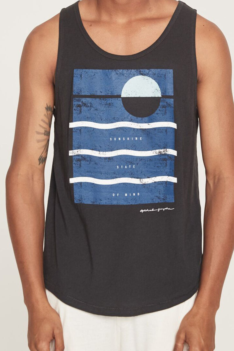 Wave Surf Tank Vintage Black