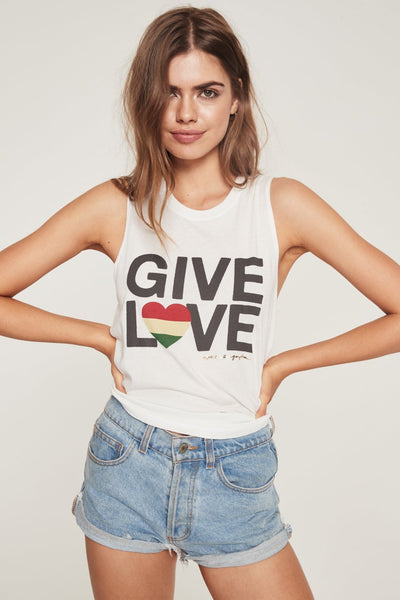 GIVE LOVE RASTA HEART MUSCLE TANK STARDUST - Spiritual Gangster