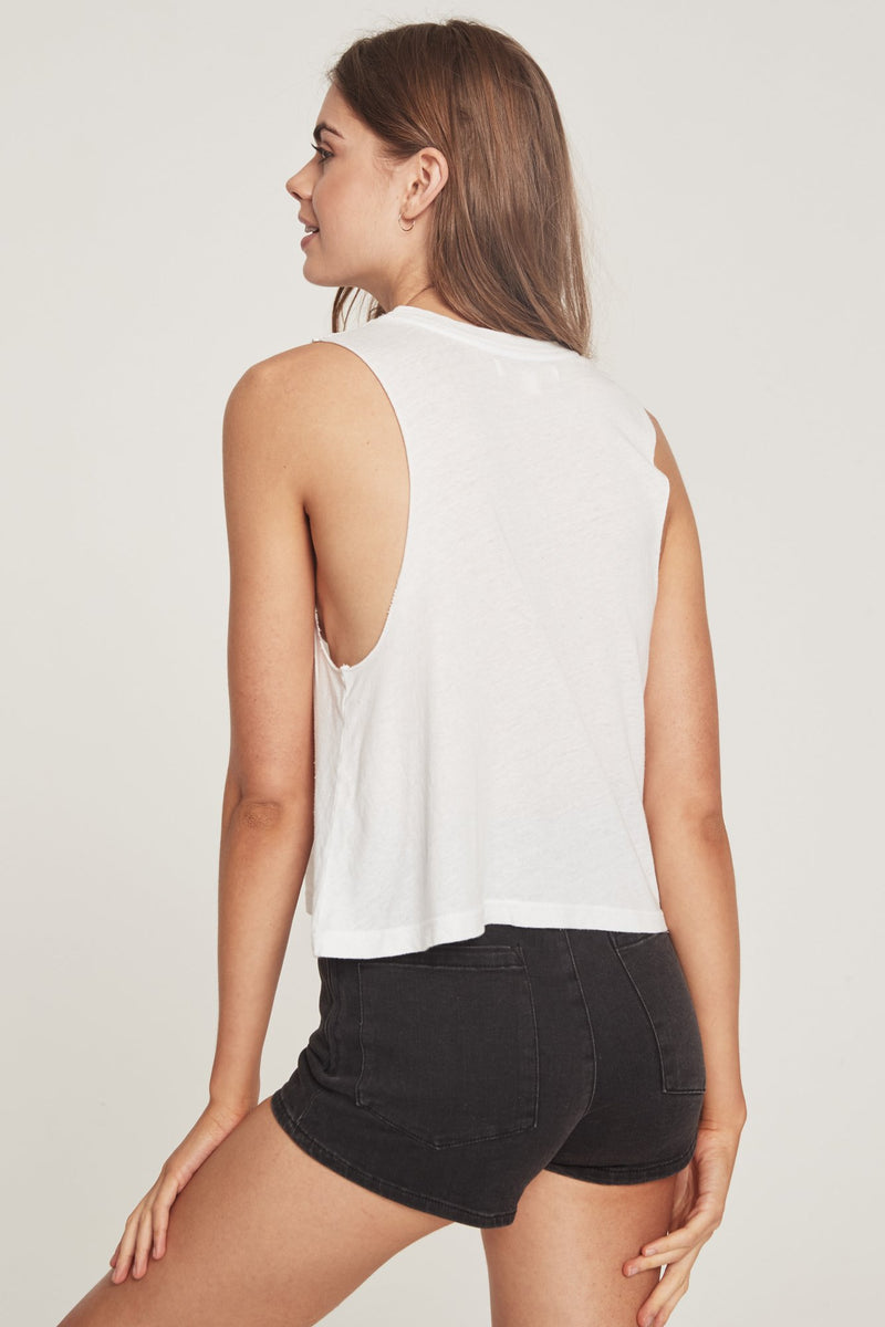 Good Vibe Day Embroidered Crop Tank