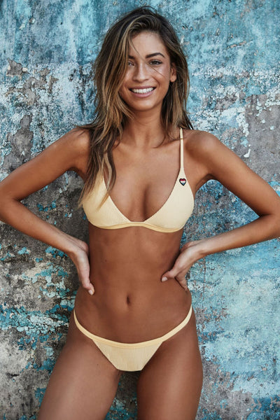 BREEZY RIBBED BIKINI TOP YELLOW - Spiritual Gangster