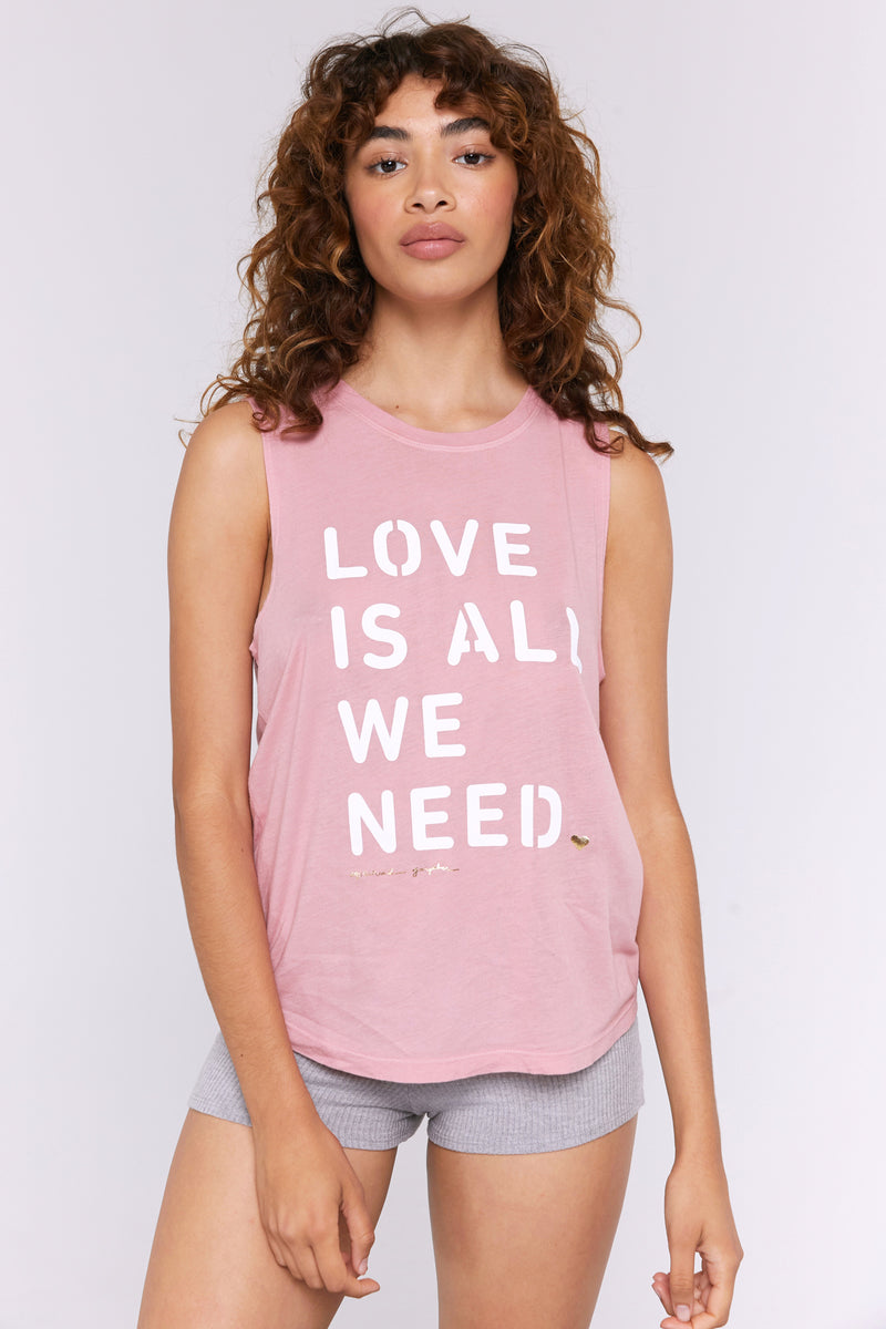 LOVE IS ALL WE NEED MUSCLE TANK