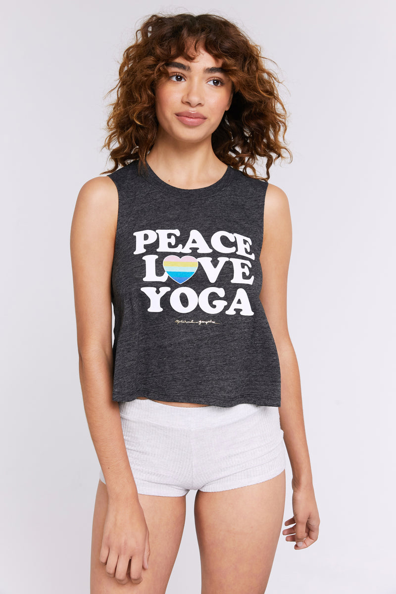 PEACE LOVE YOGA CROP TANK