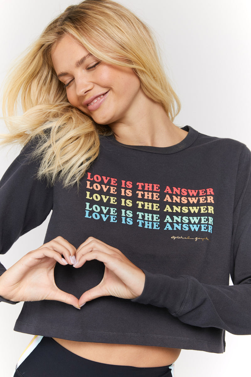 LOVE IS THE ANSWER CROPPED LONG SLEEVE TEE
