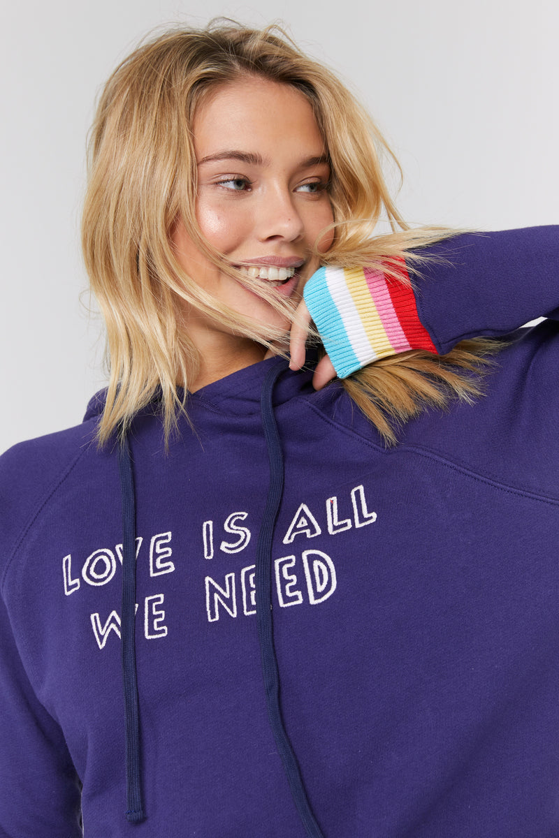 LOVE IS ALL WE NEED PULLOVER HOODIE