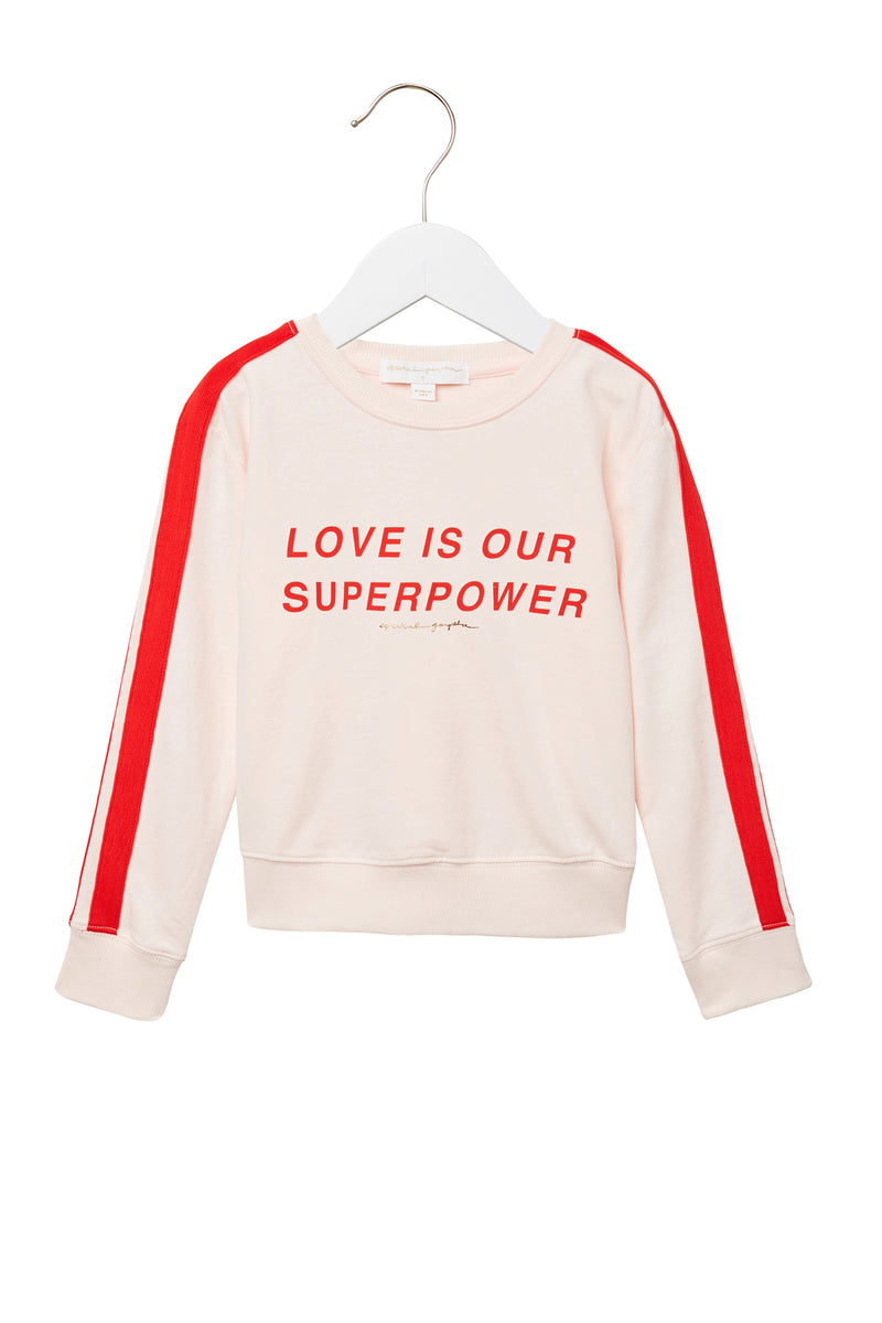 LOVE IS OUR SUPERPOWER KIDS SWEATSHIRT