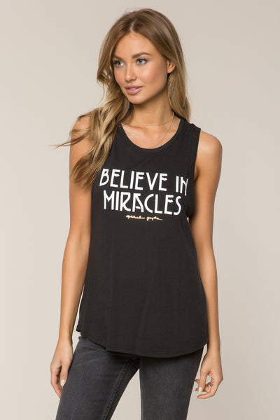 BELIEVE IN MIRACLES MUSCLE TANK BLACK - Spiritual Gangster
