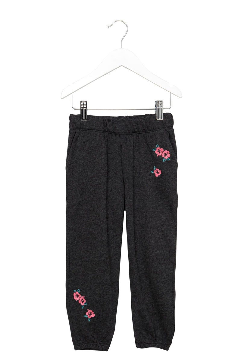 HIBISCUS EMBROIDERED KIDS SWEATPANT