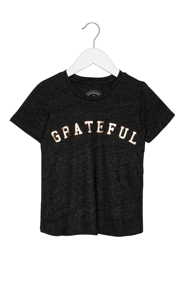 GRATEFUL KIDS TEE BLACK/ ROSE GOLD - Spiritual Gangster