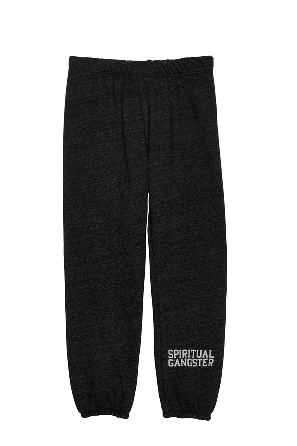 HEART EMBROIDERED KIDS SWEATPANT VINTAGE BLACK - Spiritual Gangster