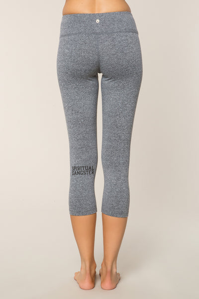 SG VARSITY POWER CROP LEGGING GREY - Spiritual Gangster