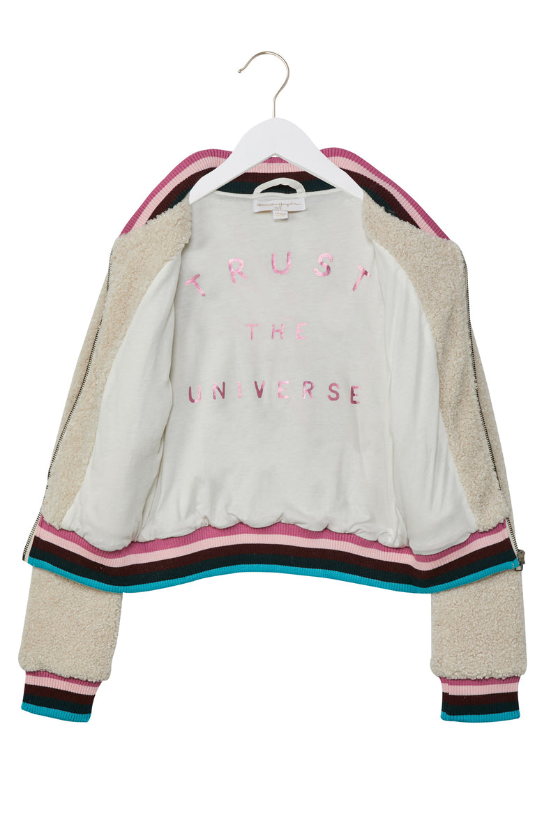 Trust the Universe Kids Furry Bomber Jacket
