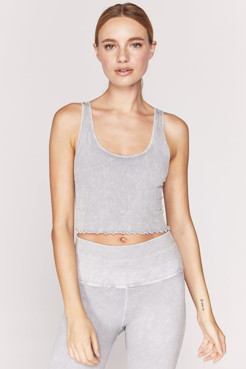 Amor Crop Tank Heather Grey