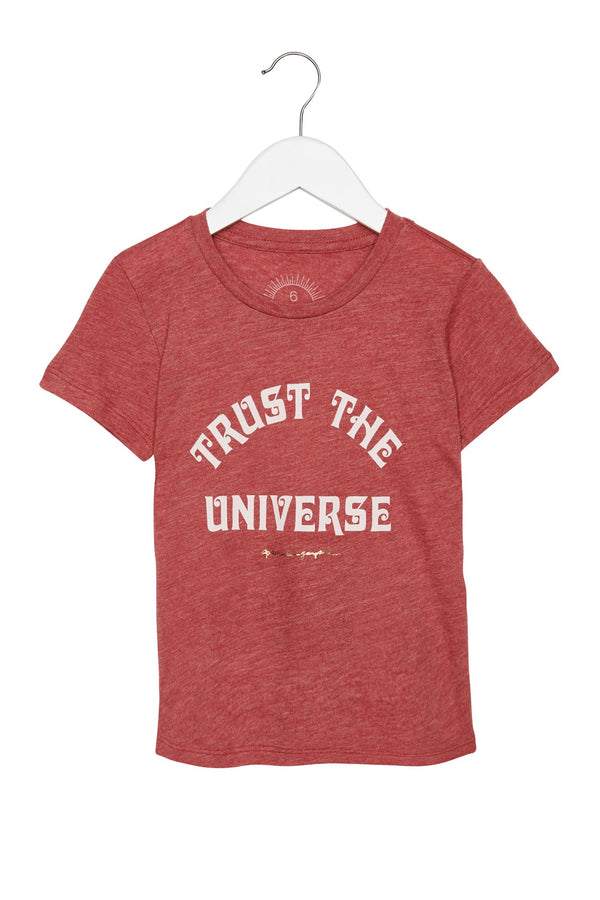 TRUST THE UNIVERSE KIDS TEE DUSTY CEDAR - Spiritual Gangster
