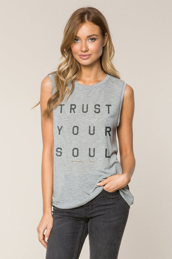 TRUST YOUR SOUL CHAKRA TANK HEATHER GREY - Spiritual Gangster
