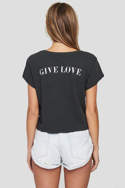 GIVE LOVE CREW TEE VINTAGE BLACK - Spiritual Gangster