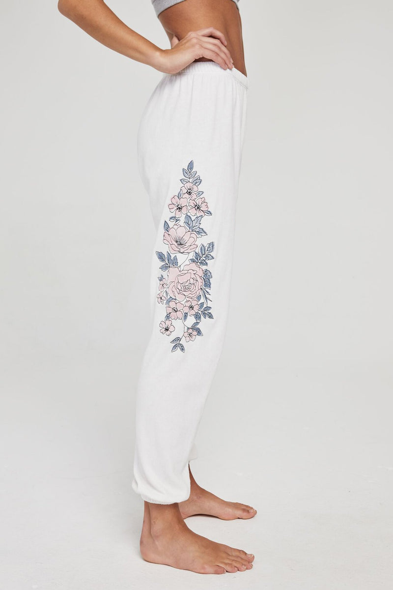 EMBROIDERED FLORAL PERFECT SWEATPANT STONE