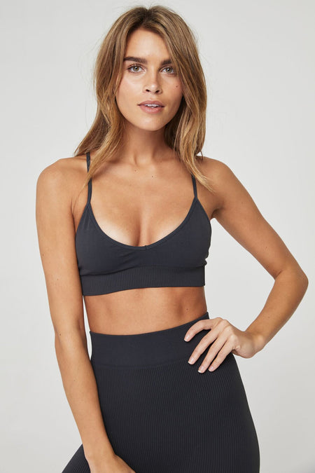 SHAKTI BRA HEATHER GREY/ GOLD STRIPE