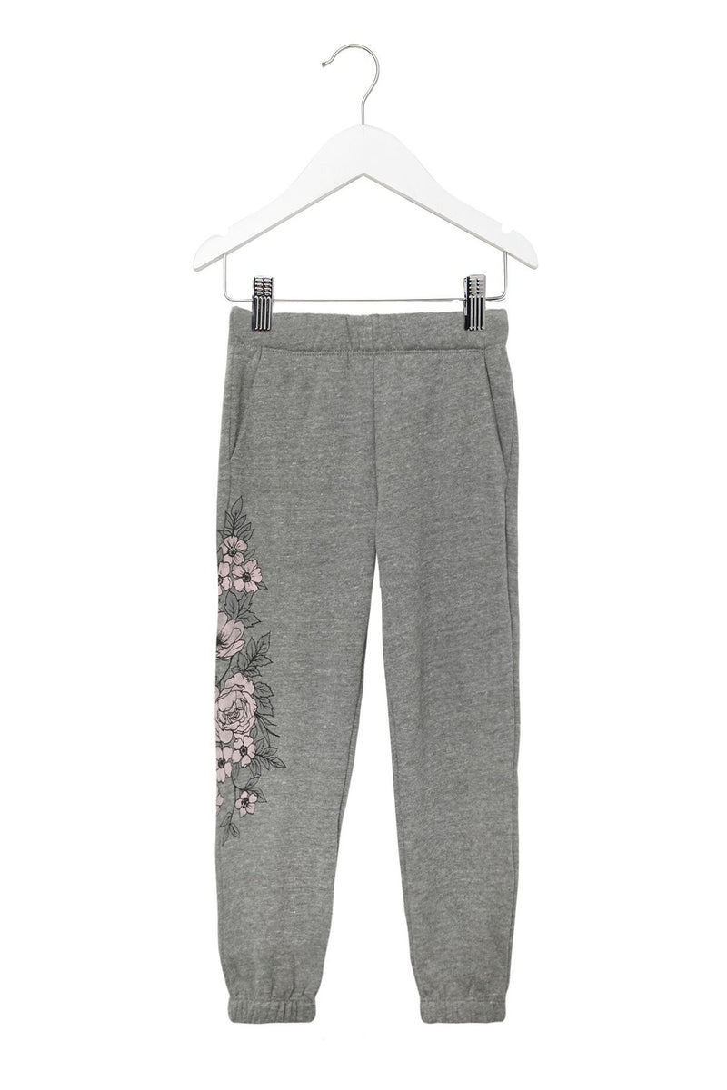 FLORAL FAVE KIDS SWEATPANT HEATHER GREY