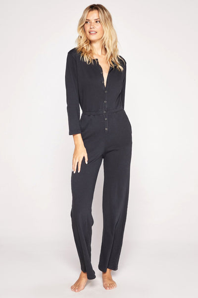 FRENCH TERRY BUTTON DOWN JUMPSUIT - Spiritual Gangster