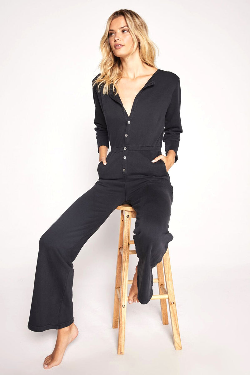 French Terry Button Down Jumpsuit
