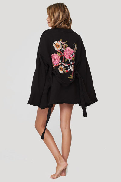 EMBROIDERED WRAP KIMONO VINTAGE BLACK - Spiritual Gangster