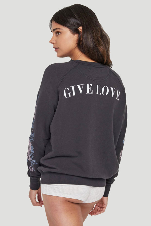 GIVE LOVE EMBROIDERED CREW SWEATSHIRT - Spiritual Gangster