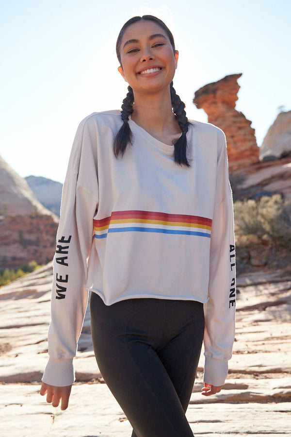 WE ARE ALL ONE OVERSIZED CROP LONG SLEEVE TEE - Spiritual Gangster