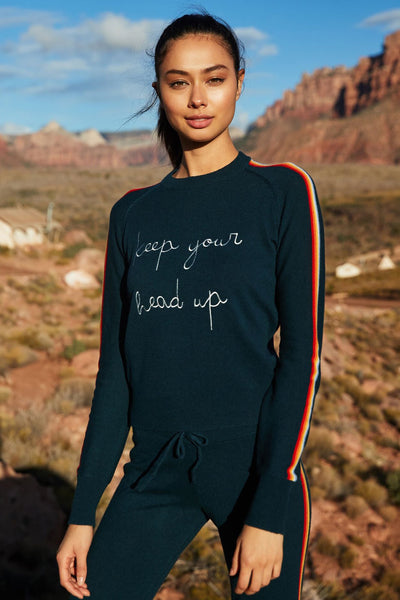 KEEP YOUR HEAD UP CREWNECK SWEATER SPRUCE - Spiritual Gangster