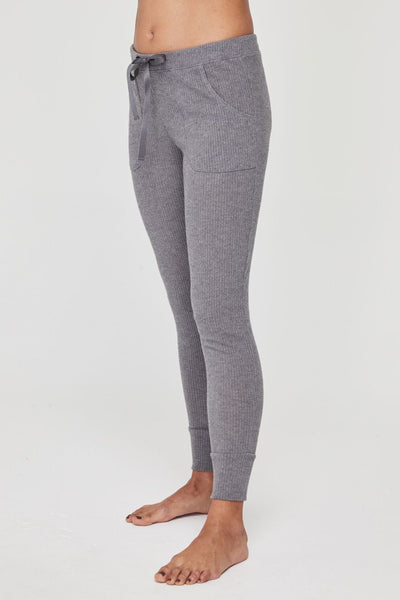 RIB TAPERED JOGGER HEATHER GREY - Spiritual Gangster