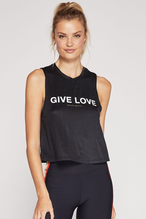GIVE LOVE ACTIVE CROP TANK BLACK - Spiritual Gangster