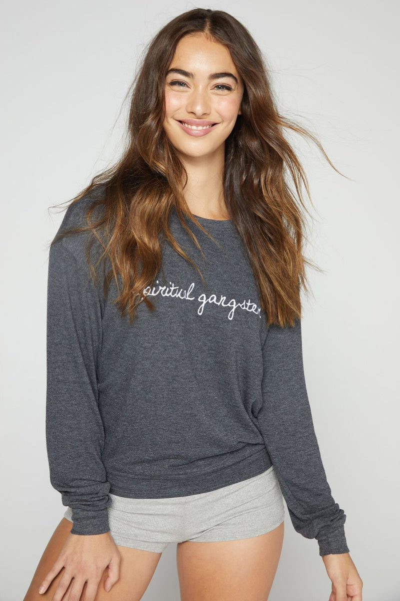 Spiritual Gangster Embroidered Savasana Pullover