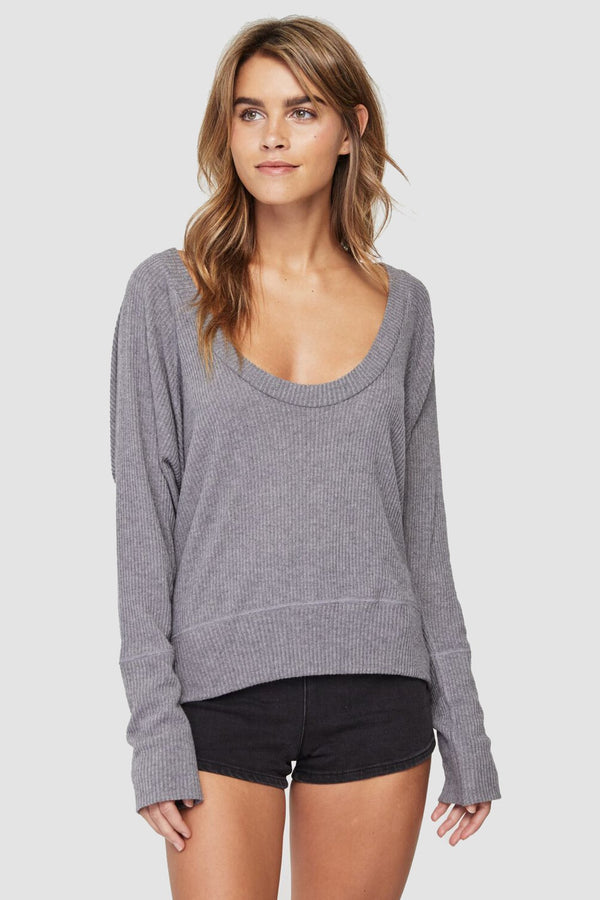 RIB LONG SLEEVE SCOOP TEE HEATHER GREY - Spiritual Gangster