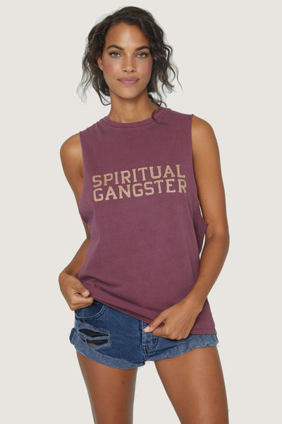 SG VARSITY CUT OFF BAND TANK AMOR RED - Spiritual Gangster