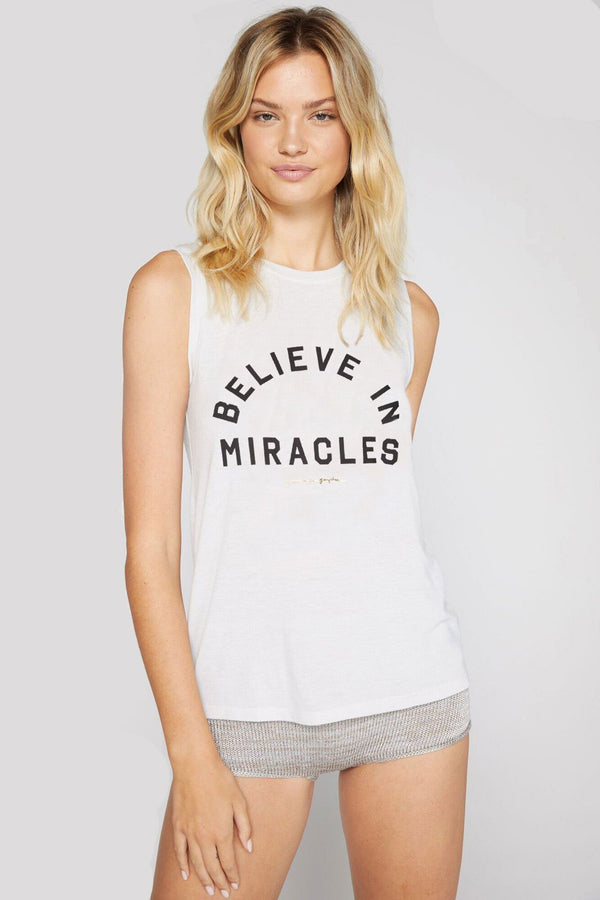 BELIEVE IN MIRACLES MUSCLE TANK STONE - Spiritual Gangster