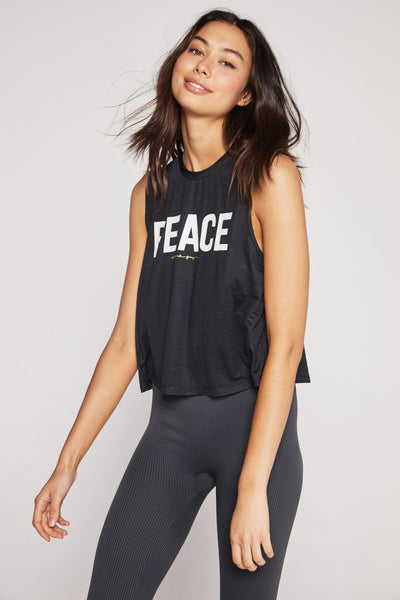 PEACE ACTIVE CROP TANK BLACK - Spiritual Gangster