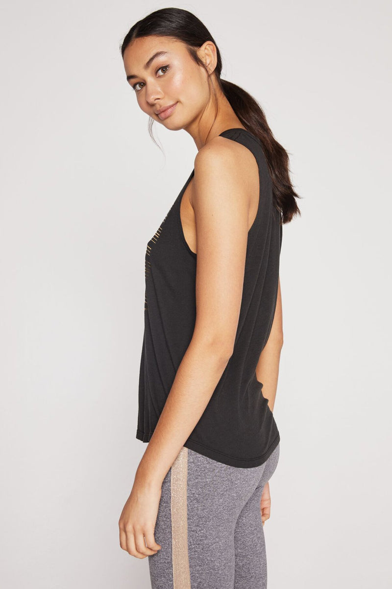 SHINE MUSCLE TANK VINTAGE BLACK