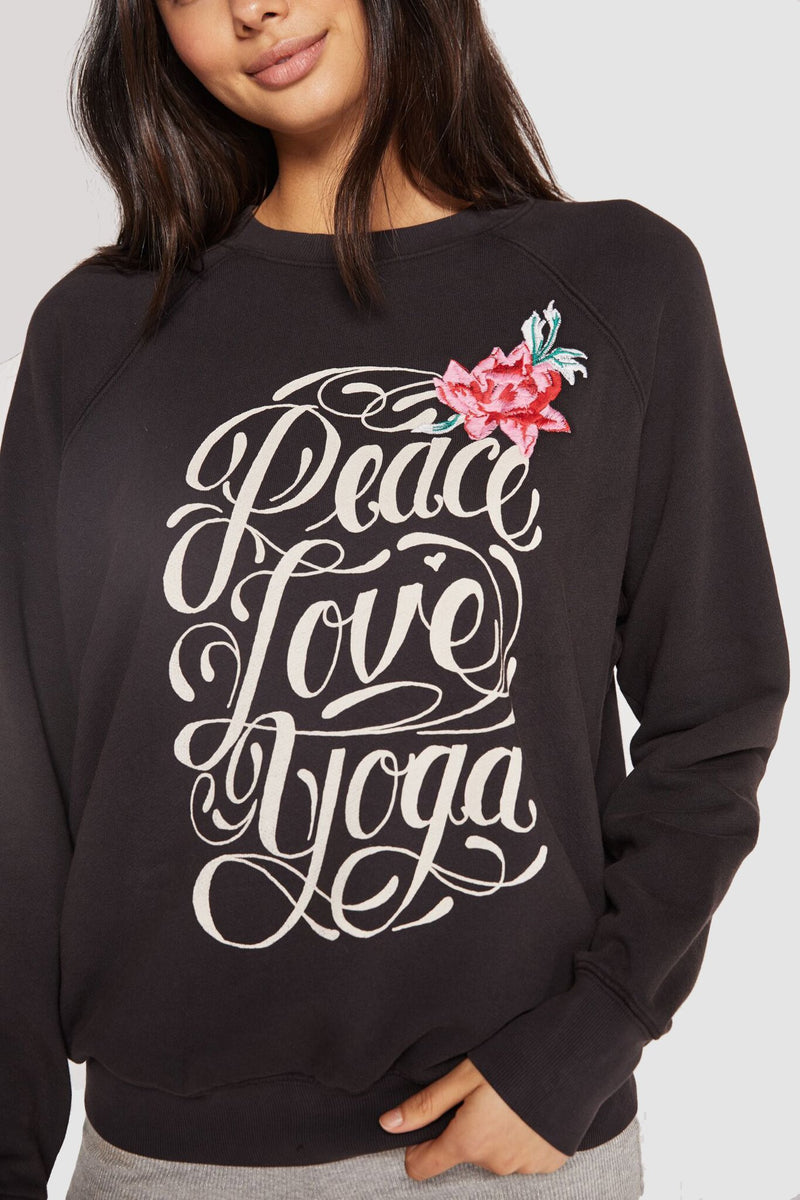 PEACE LOVE YOGA CLASSIC CREW SWEATSHIRT