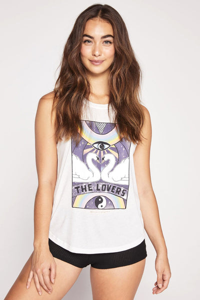 THE LOVERS TAROT MUSCLE TANK STONE - Spiritual Gangster