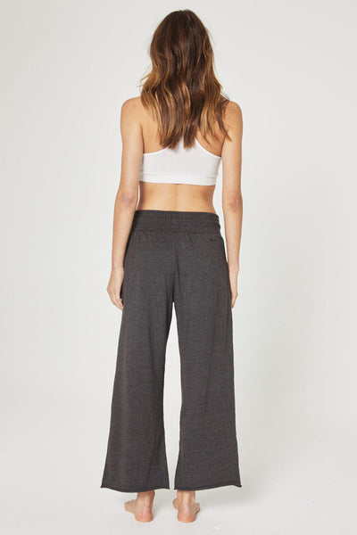 PEACE LOVE CROP WIDE LEG PANT VINTAGE BLACK - Spiritual Gangster